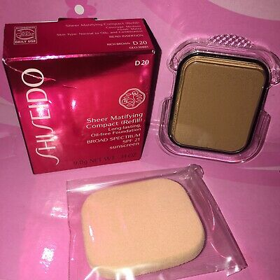 Shiseido Sheer Matifying Compact Refill Foundation Spf21 D20 Rich Brown Nib