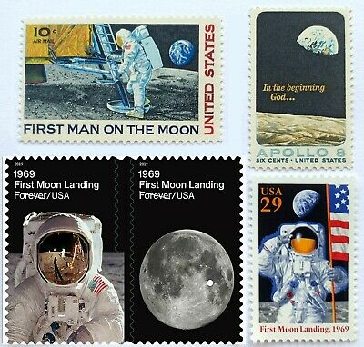 Apollo 8 / 11 - First Moon Landing - 5Pc Us Stamps - 1969 1994 2019 - Mint Nh