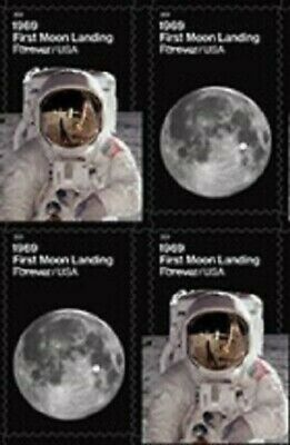 US 5399-5400 5400a 1969 First Moon Landing forever block (4 stamps) MNH 2019