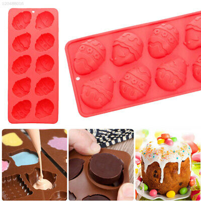 FB5C Lovely 10-Cavity Easter Cake Mold Egg Shape Mold Tool Silicone Food Baking
