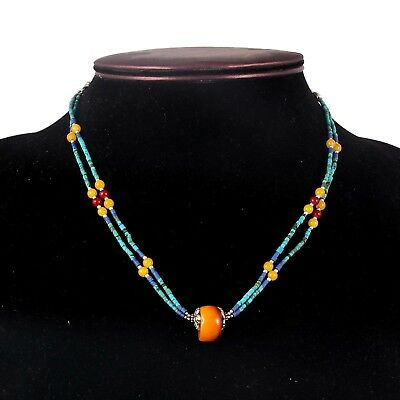 Antique Amber Lapis Lazuli Turquoise Necklace 925 Tibetan Necklace Jewelry