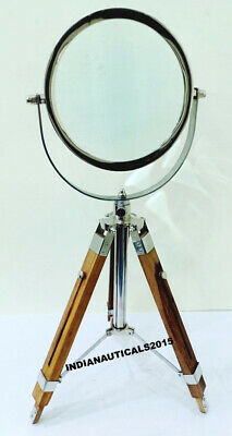 Maritime Magnifying Glass Wooden stand Nautical Antique Magnifier Desk