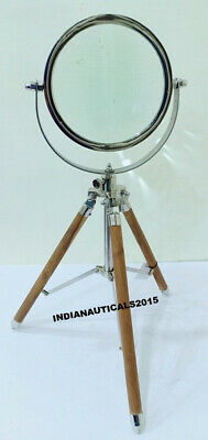 Nautical Maritime Wooden stand  Magnifying Glass Antique Magnifier Desk