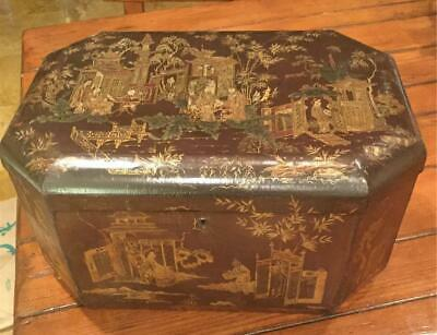 Antique English Chinoiserie Lacquer Box 17""