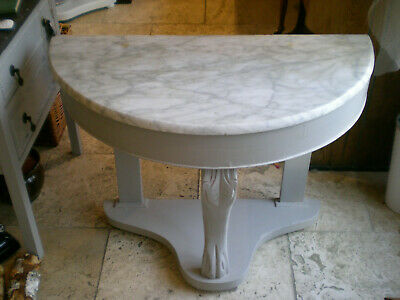 Vintage Demi Lune Marble Top Wash Stand/Console Table in Shabby Chic Laura Ashle