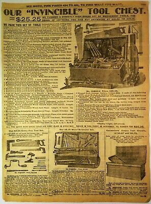 1900's Antique PAPER PRINT AD invincible tool chest wood butcher carpenter saws
