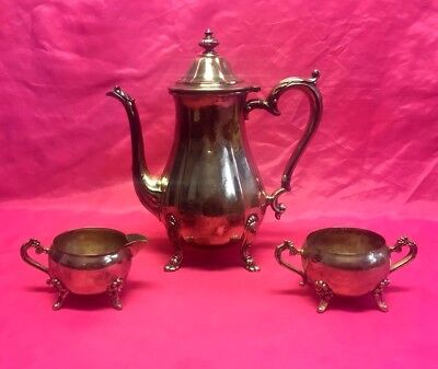 Vintage Chippendale Silverplate Footed Tea Pot / Creamer / Sugar Bowl Set