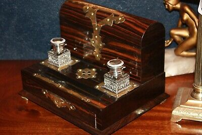 Stunning Antique Victorian Coromandel Brass Bound Stationary Box