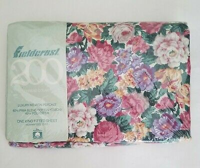 Vintage Fieldcrest King Fitted Sheet Percale Floral No Iron NEW IN PACKAGE
