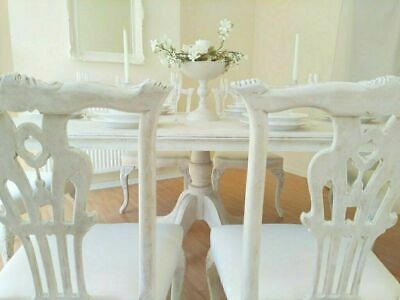 *** UNIQUE *** French Antique Shabby Chic Dining Table & Six Chairs !!!