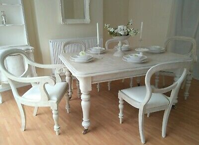 *** UNIQUE *** French Antique Shabby Chic Dining Table & Five Chairs !!!