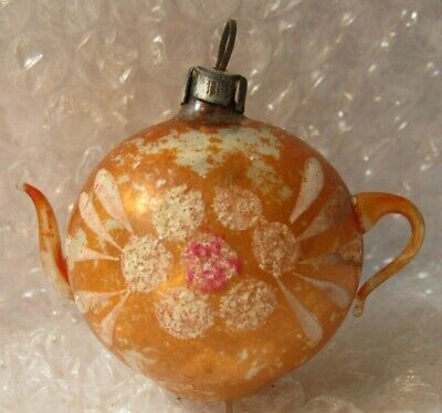 "Antique Glass Christmas Ornament Feather Tree 2"" Teapot Hand Painted Old"