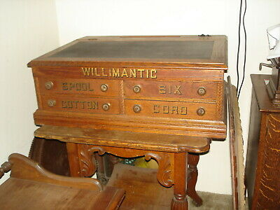 Antique Willimantic Thread/ Spool Store Counter Display Cabinet