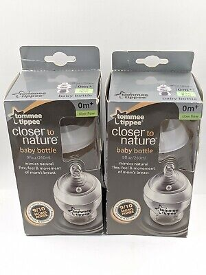 Tommee Tippee Closer To Nature 9 oz Bottle 0m+ Slow Flow LOT OF 2