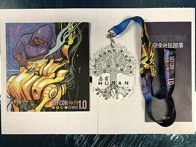 DEF CON China DCCN 1.0 Human badge, lanyard, program and convention envelope