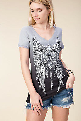Vocal Tunic Shirt New Dark Pink Tie Dye with Black Angel Wings/& Crystals