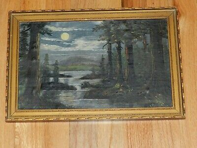 Antique Oil on Board Painting In,DEPRESSION ERA, Tramp Art ,14 3/4 ,X,10,FOREST