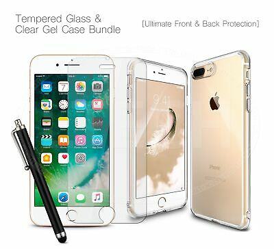 "For Apple iPhone XI MAX (2019) 6.5"" - Clear TPU Gel Case, Glass Protector & Pen"