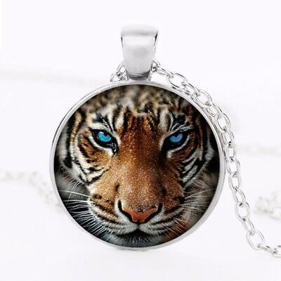 Tiger Blue Eyes Art Crystal Glass Pendant Necklace Jewelry Gift Bag - Silver