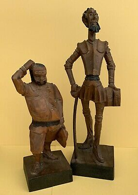 Ouro Artesania Don Quixote & Sancho Panza Wood Carved Figurines Made in Spain