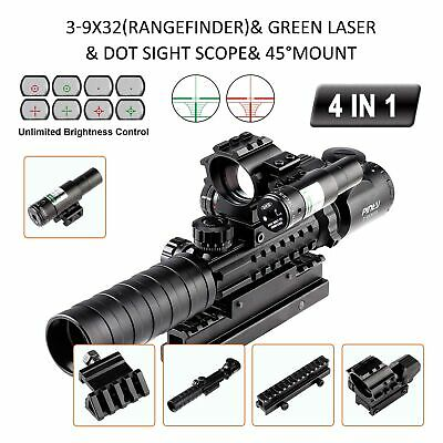 New 4-in-1 Combo 3-9x32EG Tactical Optical Reticle Riflescope Rangefinder