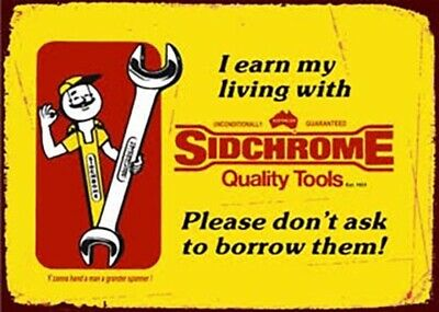 Sidchrome Quality Tools Retro Tin Sign 35x26cm | Man Cave, Shed or Garage