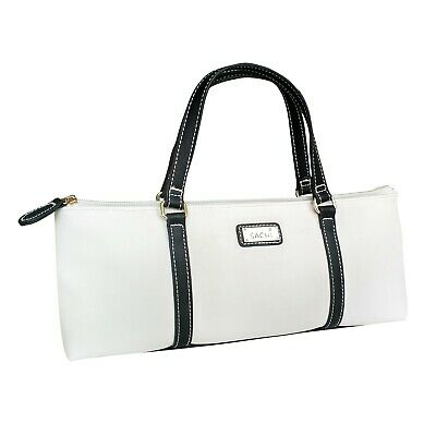 Sachi Wine Bottle Insulated Cooler Bag Tote Carrier Purse Handbag BYO White Blk