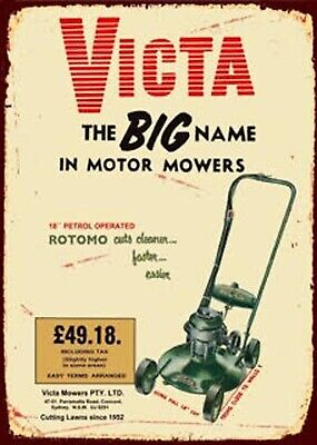 Victa Lawn Mower Tin Sign 35cmx26cm | Man Cave, Shed or Garage