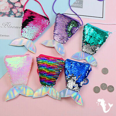 Fashion Sequins Mermaid Tail Coin Purse Wallet Lanyard Coin Bag Storage Gift NEW