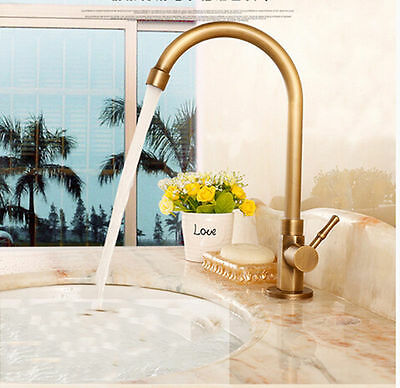 Bathroom/Kitchen Tall Swivel Spout Antique Brass Faucet Tap Only Cold Water Tap