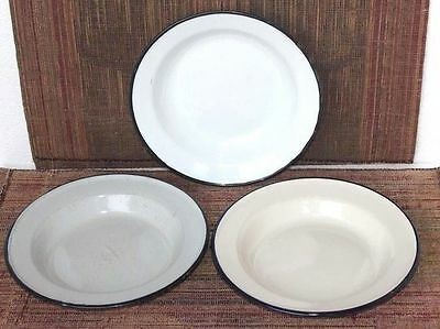 Enamel Plates Set of 3 Old Vintage Antique Home Decor Kitchenware K-21