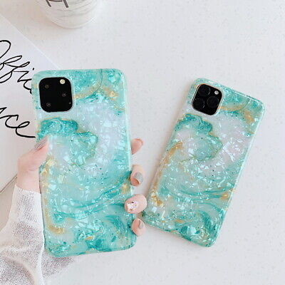 Green Seashell Marble Soft Back Case Cover For iPhone 11 Pro Max 6.5'' 6.1'' 5.8