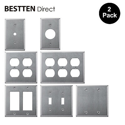 2PK Metal Wall Plate Decor/Duplex/Toggle/Blank  Stainless Steel Outlet Cover UL
