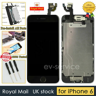 For iPhone 6 Black Retina LCD Screen Replacement Touch Digitizer Camera Button