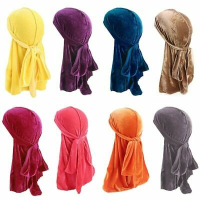 Men Women Breathable Bandana Hat Durag Long Headwrap Velvet Chemo Cap Double New