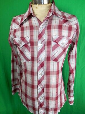 Vintage Maroon Blue Plaid Poly/Cotton Bronco Long Sleeve Western Cowboy Shirt S