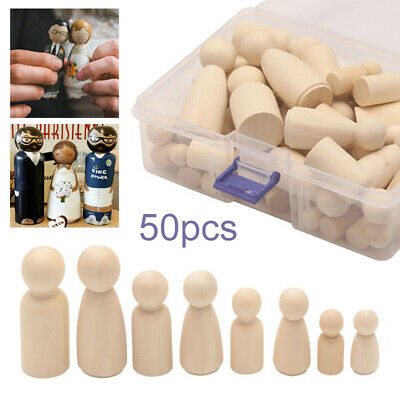 50PCS DIY Wooden Pegs Dolls Unfinished Family People Wedding Craft Man/Lady/Kids
