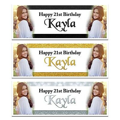 X 2 Personalised Birthday Photo Gold Black Pink Name Banners Party Decorations