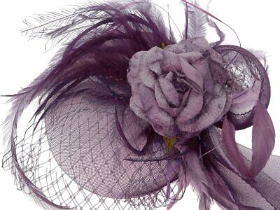 Angelique Purple Rose Feathers Fascinator Spring Carnival Wedding Derby Races