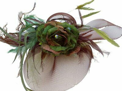 Angelique Green Rose Feathers Fascinator Spring Carnival Wedding Derby Races