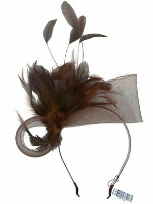 Charlotte Brown Feathers Headband Fascinator Spring Carnival Wedding Derby Races