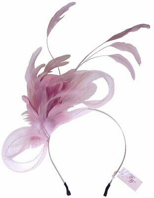 Charlotte Pink Feathers Headband Fascinator Spring Carnival Wedding Derby Races