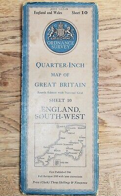 1946 ORDNANCE SURVEY OS Map England South West 1/4 inch to 1 mile Sheet 10 CLOTH