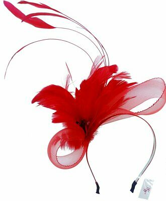 Charlotte Red Feathers Headband Fascinator Spring Carnival Wedding Derby Races