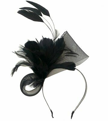 Charlotte Black Feathers Headband Fascinator Spring Carnival Wedding Derby Races