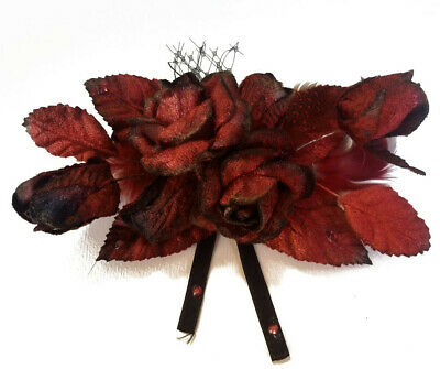 Claudia Red Rose & Tulle Clip Fascinator Spring Carnival Wedding Derby Races
