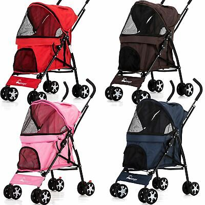Pet Pushchair Dog Puppy Cat Pram, Travel Buggy Stroller for Animals Jogger