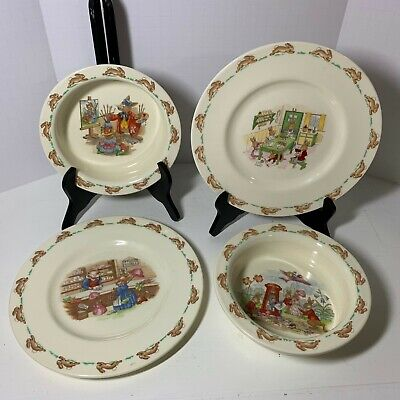 Bunnykins Royal Doulton England Childs Plates Bowls Lot 4 pieces vintage Nursery