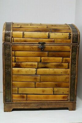 """Vintage Bamboo Trunk Chest With Brass Hasp & Hinges (18"""" L-side to side X 13-1/2"""