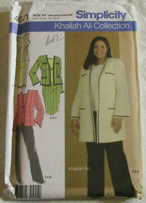 Simplicity Khaliah Ali Collection Pattern 1761 Womens Jacket Pullover Knit Top Sizes 20W-28W Skirt in 2 Lengths